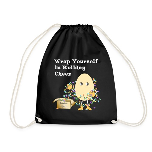 Holiday Cheer Funny Christmas Lights White Text - Drawstring Bag
