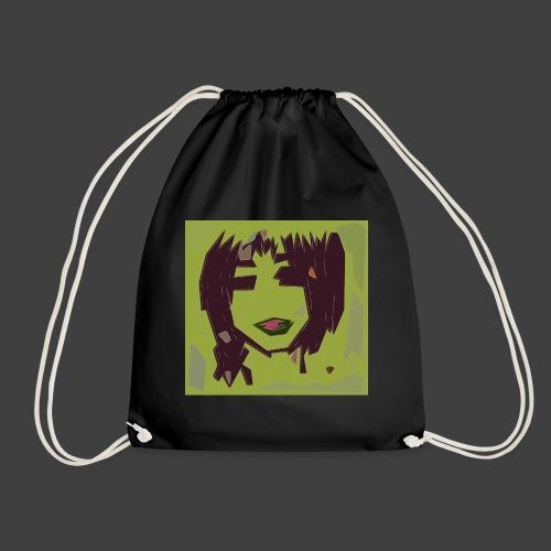Green brown girl - Drawstring Bag
