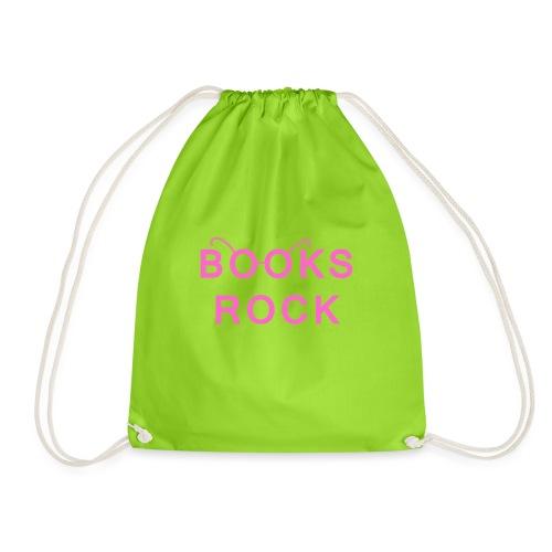Books Rock Pink - Drawstring Bag