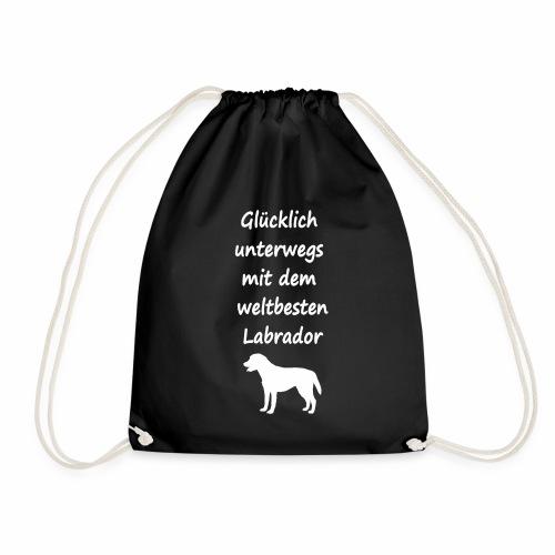 Glücklich unterwegs mit dem weltbesten Labrador - Turnbeutel