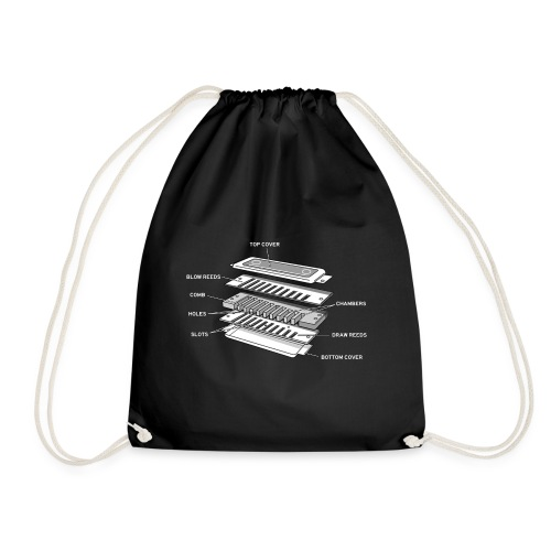 Exploded harmonica - white text - Drawstring Bag