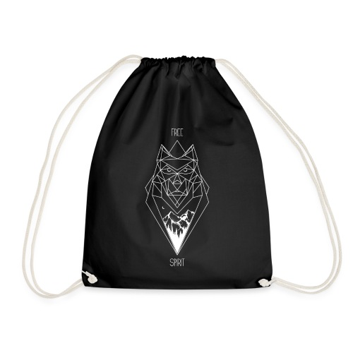 White Free spirit wolf design (non 3D) - Drawstring Bag