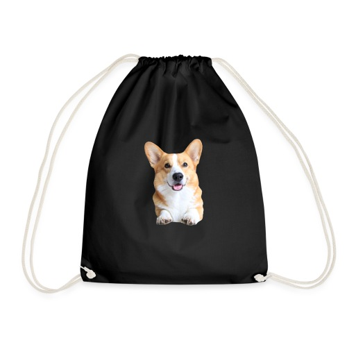 Topi the Corgi - Frontview - Drawstring Bag