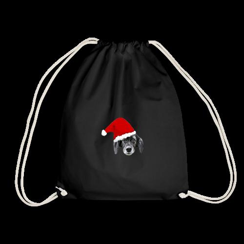 Weihnachten Hundekopf mit Mütze - Turnbeutel