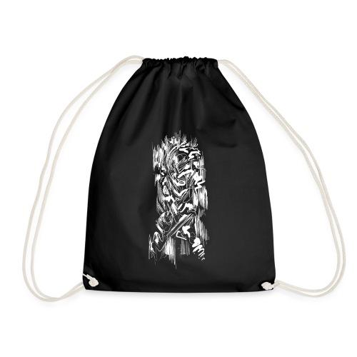 Samurai / White - Abstract Tatoo - Drawstring Bag