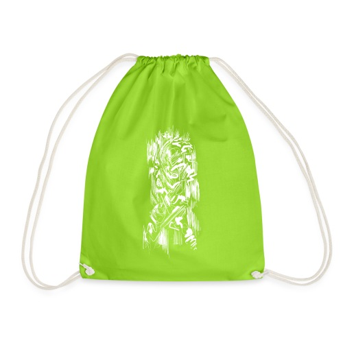 Samurai / White - Abstract Tatoo - Drawstring Bag