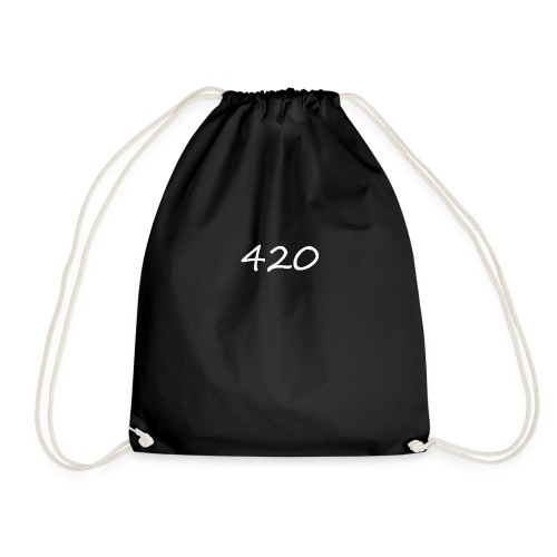 A hand drawn cannabis inspired 420 text logo - Drawstring Bag