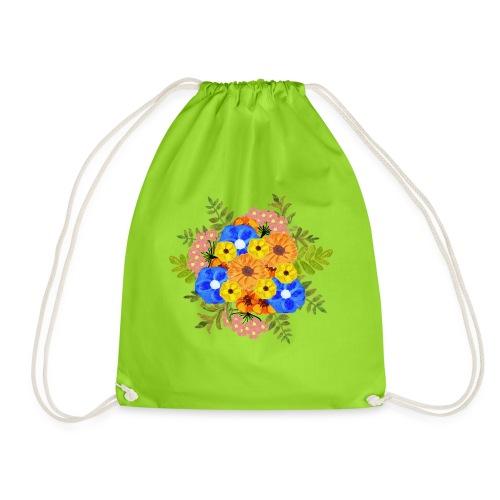 Blue Flower Arragement - Drawstring Bag