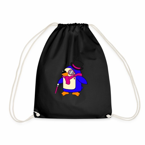Cute Posh Flowery Pink Penguin - Drawstring Bag