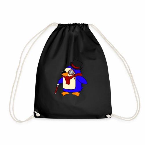 Cute Posh Crimson Red Penguin - Drawstring Bag