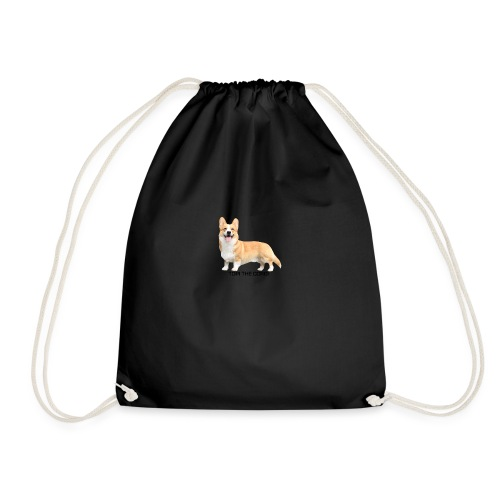Topi the Corgi - Black text - Drawstring Bag
