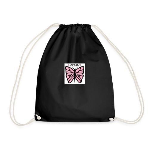 Fjäril, Dream rosa vit svart - Gymnastikpåse
