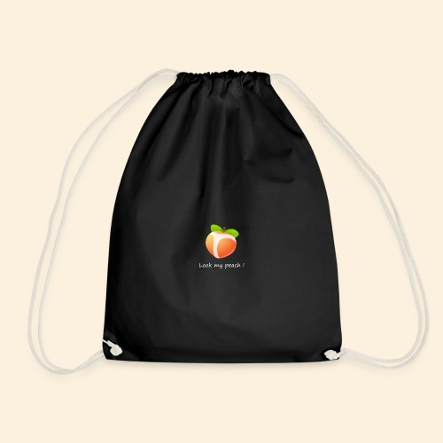 Look my peach in white - Drawstring Bag