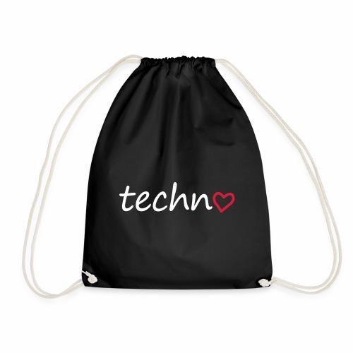 Techno Liebe PLUR Herz Raving Floorliebe Club - Turnbeutel