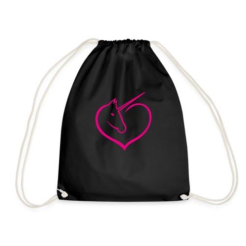 I love unicorns Pink Unicorn inside a heart - Mochila saco