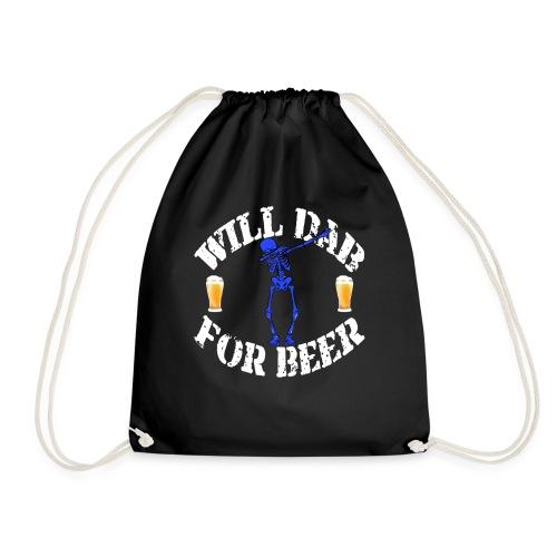 Funny Halloween Blue Skeleton Will For Beer. Beer Lover Gift - Drawstring Bag