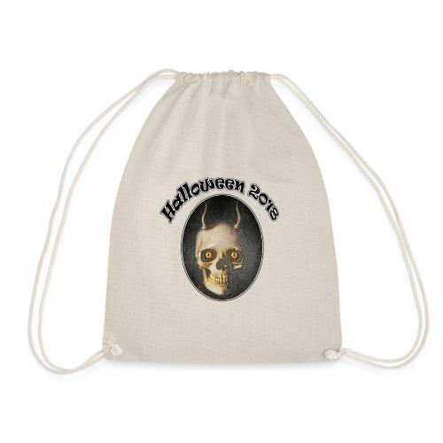 Halloween 2018 Horned Devil Skull - Drawstring Bag