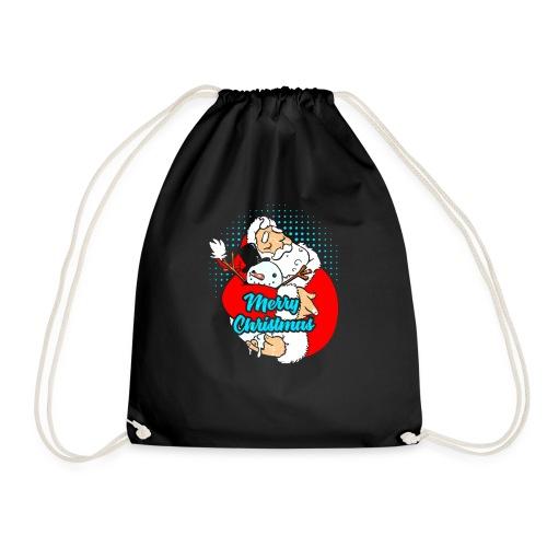 Weihnachtsmann der Schneemann umarmt - Turnbeutel