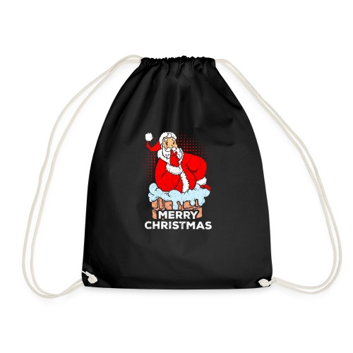 Weihnachtsmann versucht über den Kamin zu kommen - Turnbeutel