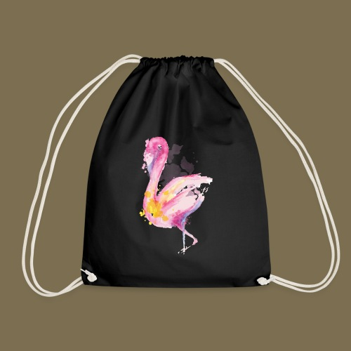 Flamingo - Wasserfarbe - Turnbeutel