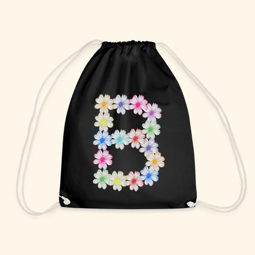 Buchstabe B aus Blumen, floral, Kosmee Blüten - Turnbeutel