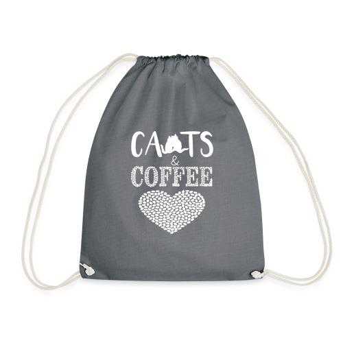 Katzen und Kaffee Liebe Weisse Schrift - Turnbeutel