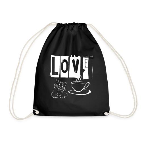 Love Katzen und Kaffee Liebe - Turnbeutel