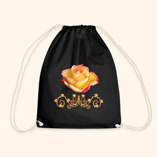 orange Rose, Ornament, Rosen, Blumen, Blüten, edel - Turnbeutel