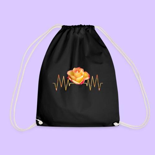 Rose, Herzschlag, Rosen, Blume, Herz, Frequenz - Turnbeutel
