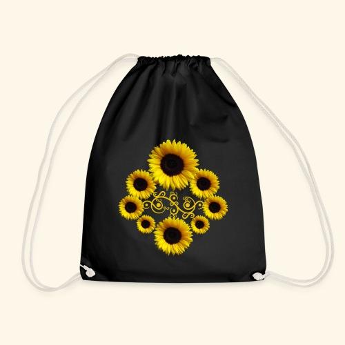 Sonnenblumen mit Ornament, Sonnenblume, Blumen - Turnbeutel