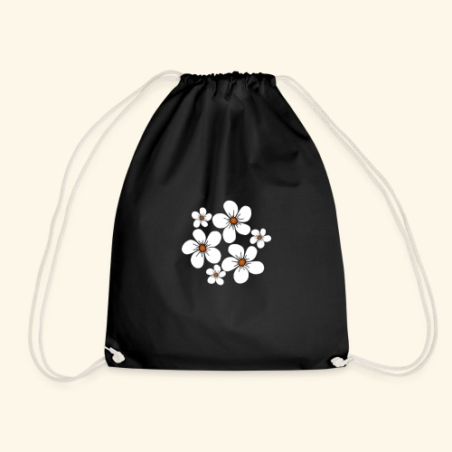 blühende weiße Blüten, Blumen, Blumenstrauß floral - Turnbeutel
