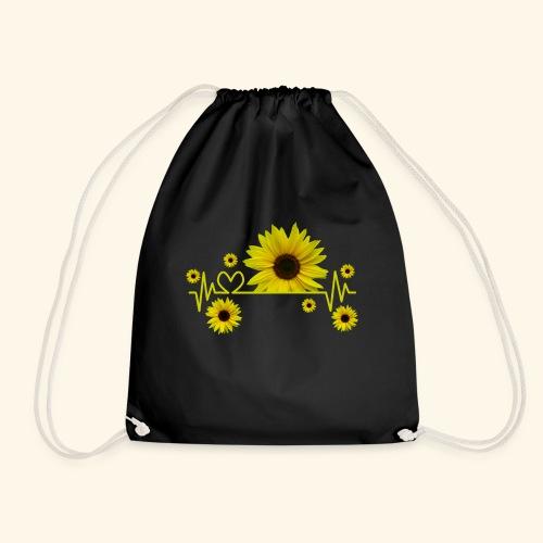 Sonnenblumen, Sonnenblume, Herzschlag, Herz, Blume - Turnbeutel
