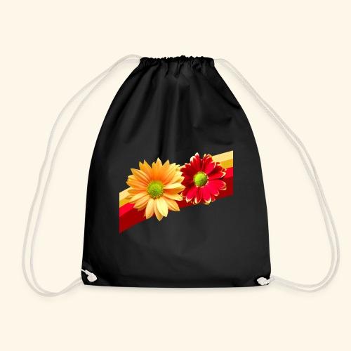 Blumen in den Farben rot und gelb, Blüten, floral - Turnbeutel