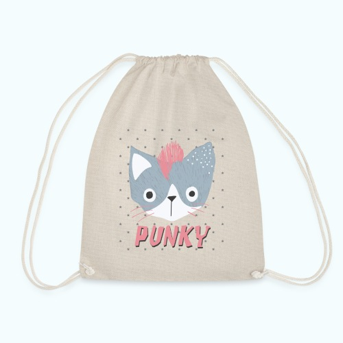 PUNCAT Punk Cat Retro Vintage - Drawstring Bag