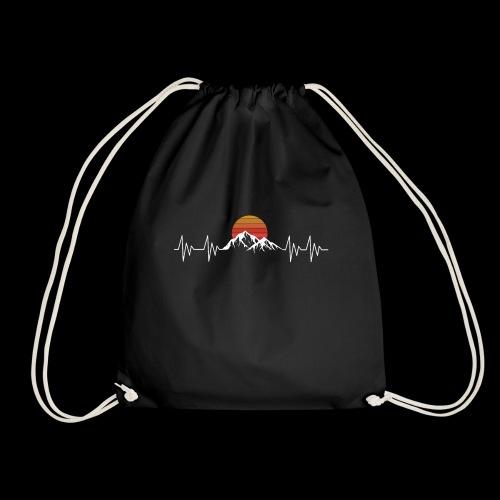 Heartbeat Berge - Herzschlag Wanderer T-Shirt - Turnbeutel