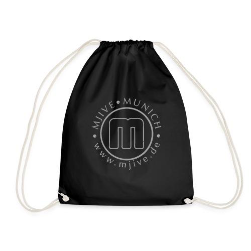 MJive logo with web address, gray - Turnbeutel