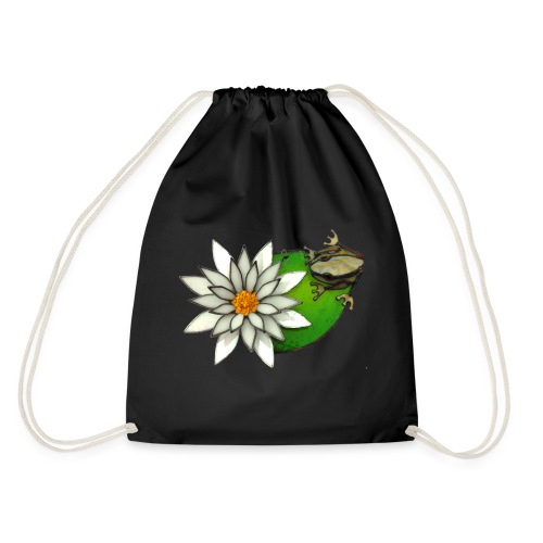 frog on a lilly pad - Drawstring Bag