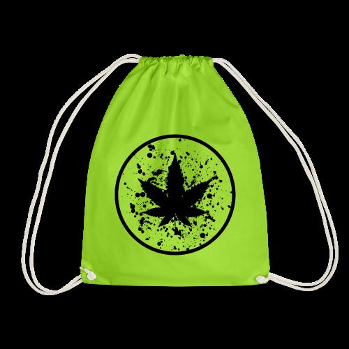 Cannabisblatt Farbklecks im Kreis - Turnbeutel