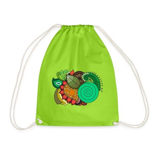 Coloured Leaf Mandala - Drawstring Bag