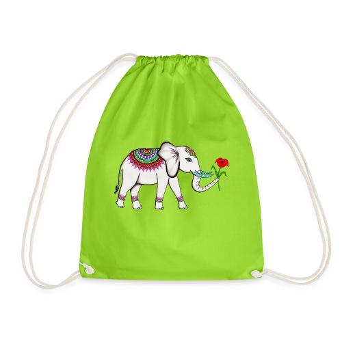 Elefant mit Blume - Turnbeutel