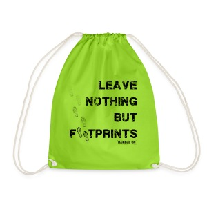 Leave Nothing But Footprints (Black Text) - Drawstring Bag