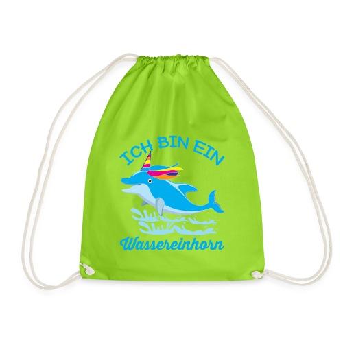 Wassereinhorn Delphin schwimmt im Meer mit Horn - Turnbeutel
