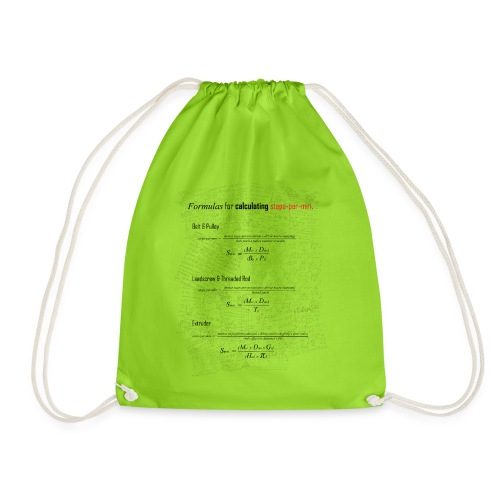 Formulas for calculating steps-per-mm. - Drawstring Bag