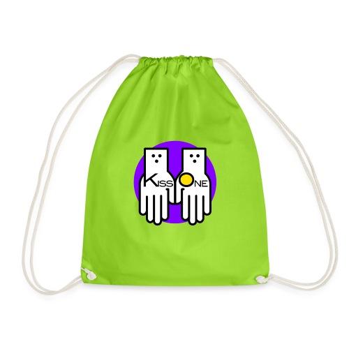 kiss one full color - Drawstring Bag