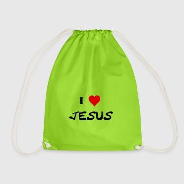 I love Jesus gift idea religion - Drawstring Bag