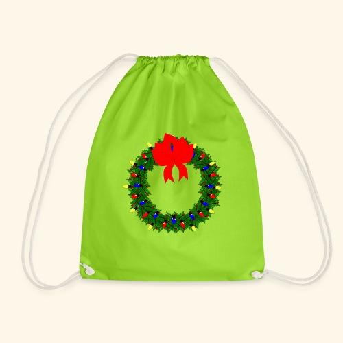 The christmas wreath - Drawstring Bag