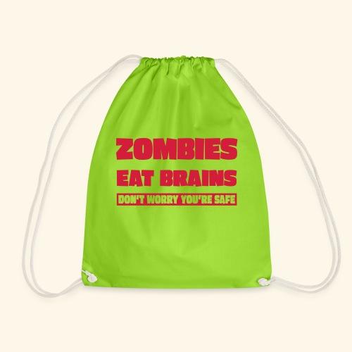 zombies eat brains - Drawstring Bag