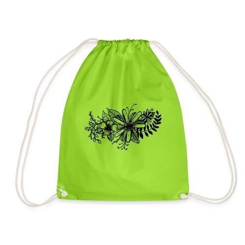 Black Flower Artwork - Drawstring Bag