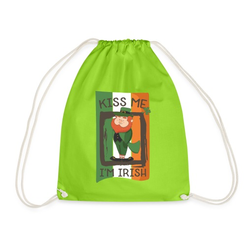 St. Patrick's Day Leprechaun - I'm Irish - Kiss Me - Drawstring Bag