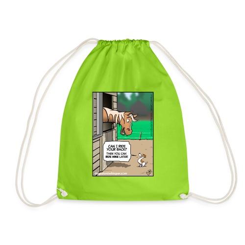 Horse & Jack Russell terrier dog - Drawstring Bag